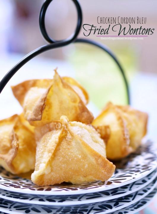 chicken cordon bleu fried wontons | fiestafriday.net